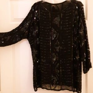Sequined long-sleeved top